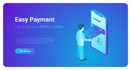 Online Payment on smartphone isometric flat vector 3d isometric illustration. Man pay by mobile bank. Male push credit card to huge phone screen. Internet finance service and banking  web template