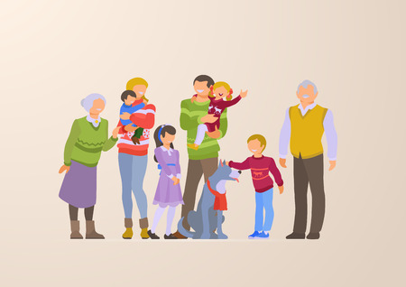 Flat Happy Family portrait lifestyle vector illustration. Children, parents, grandparents on winter holiday. Parenting character: mother, father, kids, grandmother, grandfather, son, daughter