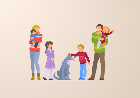 Flat Happy Family portrait lifestyle vector illustration. Children with parents. Parenting character: mother, father, kids, son, daughter, dog