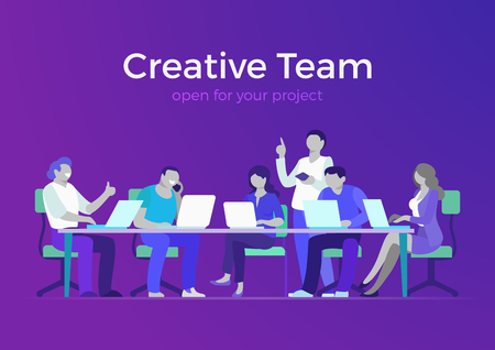 Flat style creative team web infographic vector. Business meeting room, report or presentation. Group businesspeople sitting, looking to laptop. Teamwork and staff concept