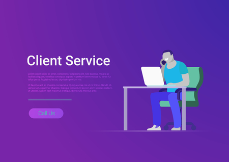 Flat male support and client service staff worker. Man at office workplace calling phone. Vector design banner template illustration. Website infographics Illustration