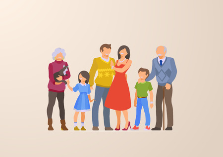 Flat Happy Family portrait lifestyle vector illustration. Children, parents, grandparents. Parenting character: mother, father, kids, grandmother, grandfather, son, daughter Illustration