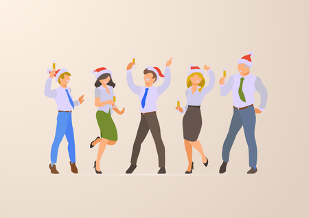 Flat style Office Corporate Christmas Party vector icon set collection. Happy business people on Santa hat dancing and drinking. Male female character. Businessmen and businesswomen team celebration Stock Vector - 121329142