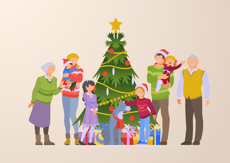 Flat happy family Christmas tree and gift boxes vector illustration. Winter Holidays New Year Celebrations concept. Parents, grandparents and children