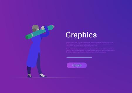 Flat style graphics design vector banner template illustration. Woman designer artist holding huge pencil.