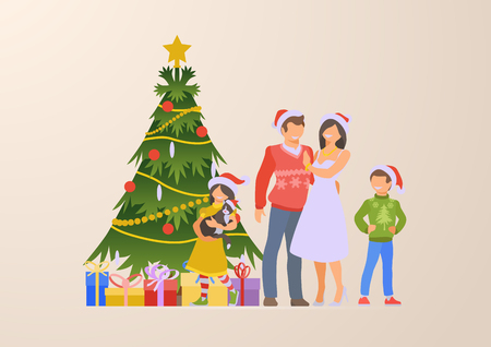 Flat happy family Christmas tree and gift boxes vector illustration. Winter Holidays and New Year Celebrations concept. Parents and children