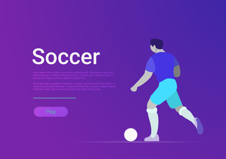 Soccer sportsmen vector flat style web template banner. Football player play ball. Site interface sport illustration.