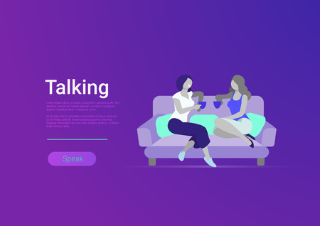 Flat style woman friends talking vector banner template illustration. Girls friendship speaking. Female drinks coffee or tea on sofa living room interior. Conversation leisure life concept. Illustration