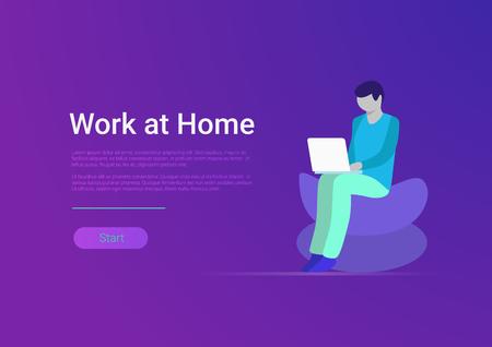 Flache Arbeit zu Hause Vektor-Banner-Vorlage. Mann-Freiberufler, der Laptop-Computer am Arbeitsplatzsessel arbeitet. Telearbeit und Freiberufler