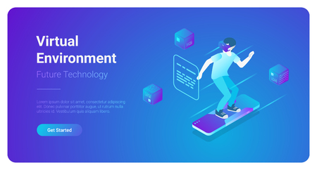 Isometric flat VR helmet Virtual Reality Environment glasses vector illustration concept. Man using glasses and surfing web banner template Illustration