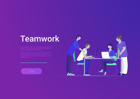 Flat style creative team web infographic vector. Business meeting room, report or presentation. Group of people sitting, looking to laptop. Teamwork and staff concept