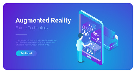 Flat augmented realty VR Virtual Reality vector isometric illustration web banner. Man using smartphone interface touching phone screen. Future technology Illustration