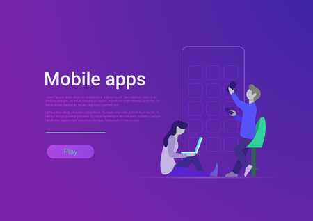 Flat style mobile application vector illustration. Apps design and web development. Website banner template. People with huge smartphone, icons, laptop and phone Illustration