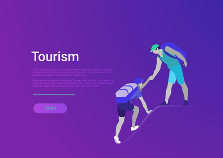 Flat style tourism hiking vector illustration banner template. Couple climbing on mountain    peak. Hobby and leisure sport time