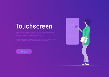 Flat style touchscreen vector illustration. Woman touching huge smartphone screen. Mobile phone application