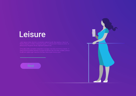 Woman leisure lifestyle flat style vector web banner template illustration. Female girl stand with glass of drink. Rest relaxation vacation concept. Illustration
