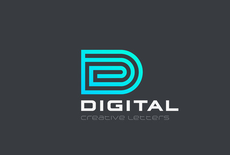 Letter D design vector template Linear style. Media Technology Web Blockchain Spiral Geometric   concept