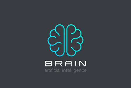 Brain Artificial Intelligence illustration design vector template Linear style.