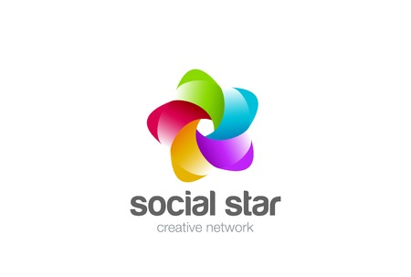 Social Network Infinity Loop Ribbon Star icom abstract design  template. Technology Teamwork Friendship Partnership  concept icon