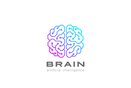 Brain Artificial Intelligence icon design vector template Linear style.
