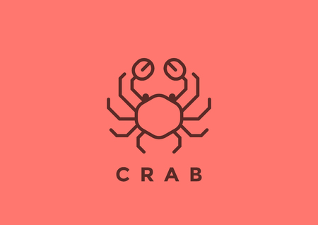 Crabicon design template geometric Linear style. Seafood Luxury Restaurant Store  icon concept