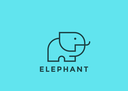Elephant icon design template geometric Linear style. Safari icon concept