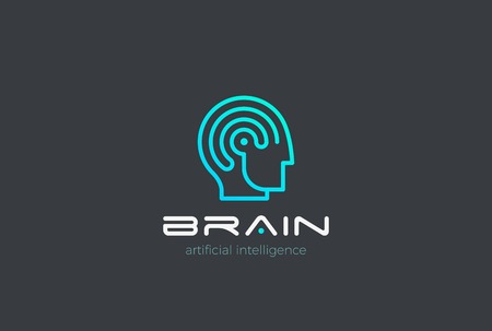 Man Robot Brain Artificial Intelligence icon design vector template Linear style. AI Automation technology Psychology Brainstorm concept Иллюстрация