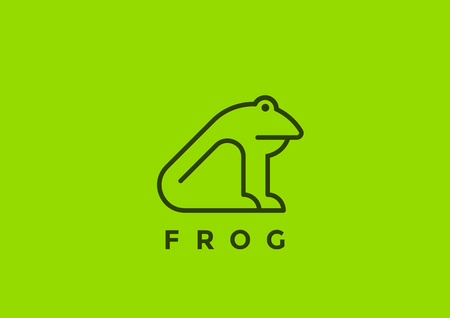 Frog icon design template geometric Linear style. Line art icon concept