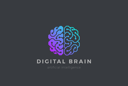 Brain Artificial Intelligence design  template Linear style. AI technology Brainstorm icon concept