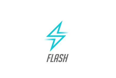Flash Thunderbolt Energy Power icon design vector template linear style. Fast speed electricity battery  concept icon