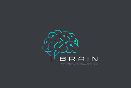 Brain Artificial Intelligence icon design vector template Linear style. AI technology Brainstorm  concept Illustration