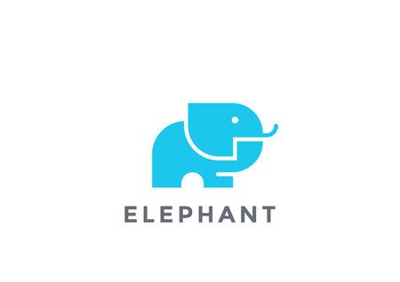 Elephant Mammoth icon silhouette  design template geometric style. Safari   icon concept