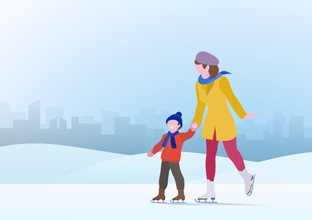 Mother with Son Skating on Ice on Snowdrifts Cityscape Winter Background Vector illustration Ilustracja