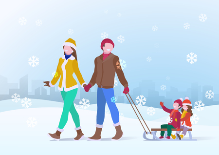 Happy Family Father and Mother parents ride on the sleigh of children Son and Daughter on Snowdrifts Winter snow background with falling Snowflakes. Vector illustration