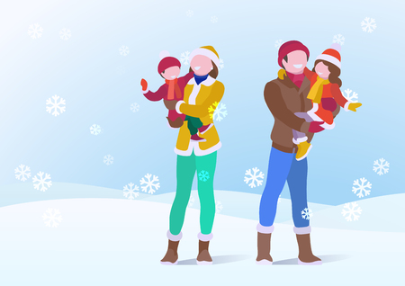 Happy Family Father and Mother Holding Son and Daughter on Snowdrifts Winter snow background with falling Snowflakes. Vector illustration Illustration