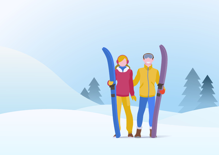 Couple Man and Girl Standing with Ski on Snowdrifts Hills Winter Snow Background with Christmas tree. Vector illustration