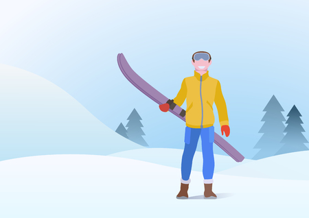 Boy Standing with Ski on Snowdrifts Hills Winter Snow Background with Christmas tree. Vector illustration Ilustração