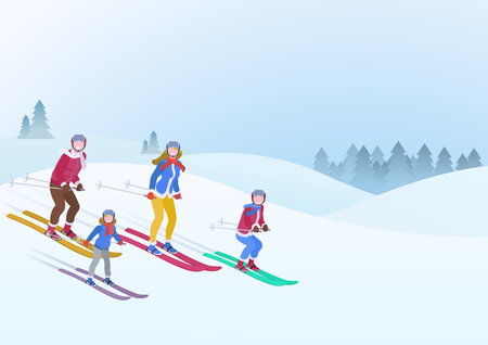 Happy Family Father Mother Son Daughter ski on Snowdrifts Winter snow background vector illustration