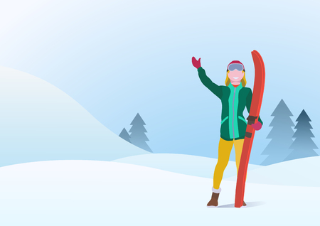 Girl Standing with Ski on Snowdrifts Hills Winter Snow Background with Christmas tree. Vector illustration