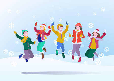 Happy Children having fun jumping up on Snowdrifts Winter snow background with falling Snowflakes. Vector illustration