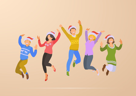 Jumping Dancing Happy People Christmas Party Holidays flat vector illustration