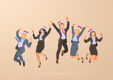 Jumping Dancing Happy Business Office People Christmas Corporate Party Holidays flat vector illustration