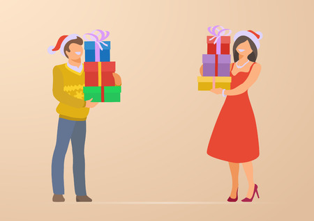 Couple at Christmas Holidays Flat vector illustration. Man and Woman standing with gift boxes