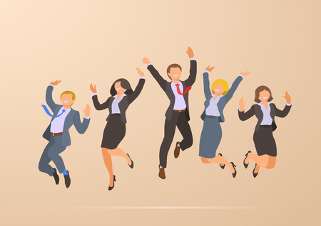 Jumping Dancing Happy Successful Business Office People Corporate Party flat vector illustration