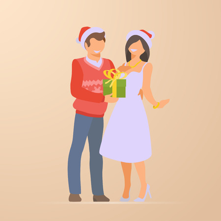 Couple at Christmas Holidays Flat vector illustration. Man presents gift box to woman Illustration