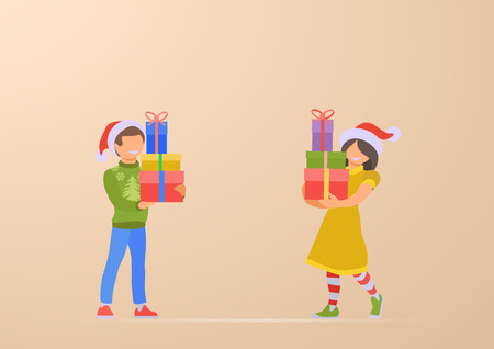 Happy Children son and daughter with Christmas gifts in hands vector flat illustration