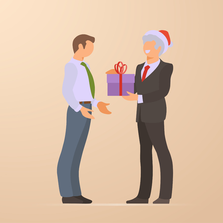 Boss makes gift to partner worker Flat vector illustration Corporate Christmas Holiday Illustration