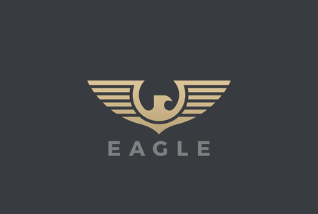 Eagle Wings Logo design silhouette vector template Heraldic Emblem. Falcon Hawk Flying Soaring Geometric Logotype concept icon