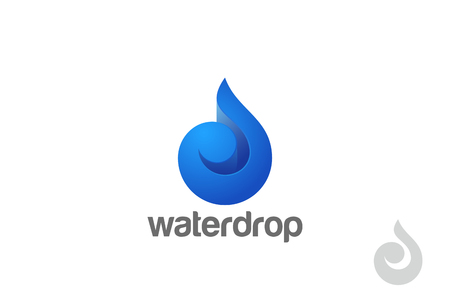 Water Wave Droplet Logo Drop design 3D vector template. Natural Mineral Aqua Drink Oil Waterdrop Logotype concept icon