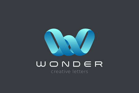 Letter W Logo Ribbon design vector template Infinite Looped shape. Creative Typography Font Monogram Logotype concept icon Çizim